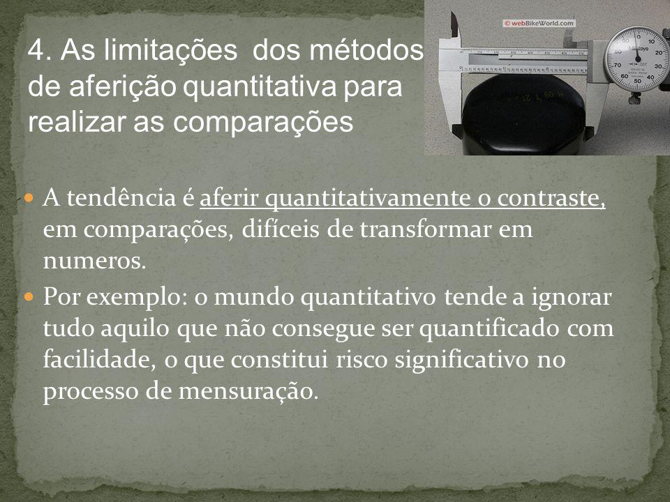 A tendência é aferir quantitativamente o contraste, em comparações, difíceis de transformar em numeros. Por exemplo: o mundo quantitativo tende a igno