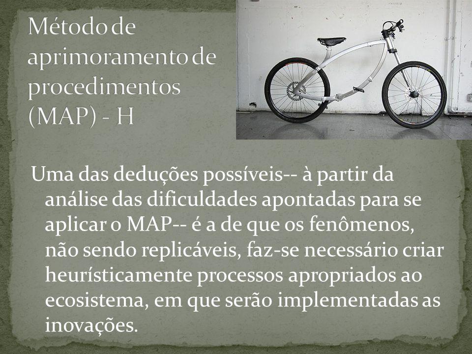 Uma das deduções possíveis-- à partir da análise das dificuldades apontadas para se aplicar o MAP-- é a de que os fenômenos, não sendo replicáveis, faz-se necessário criar heurísticamente processos apropriados ao ecosistema, em que serão implementadas as inovações.