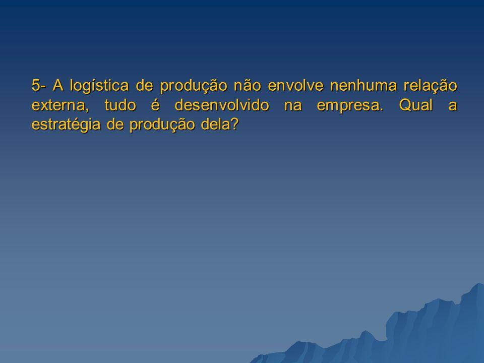 5- A logística de produção não envolve nenhuma relação externa, tudo é desenvolvido na empresa. Qual a estratégia de produção dela?