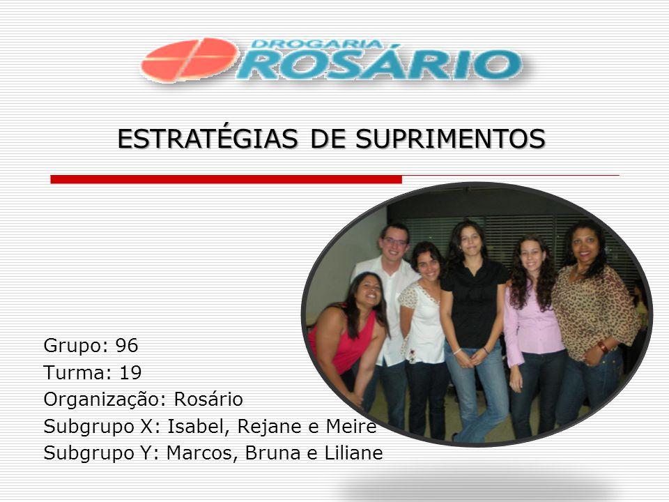 Grupo: 96 Turma: 19 Organização: Rosário Subgrupo X: Isabel, Rejane e Meire Subgrupo Y: Marcos, Bruna e Liliane ESTRATÉGIAS DE SUPRIMENTOS