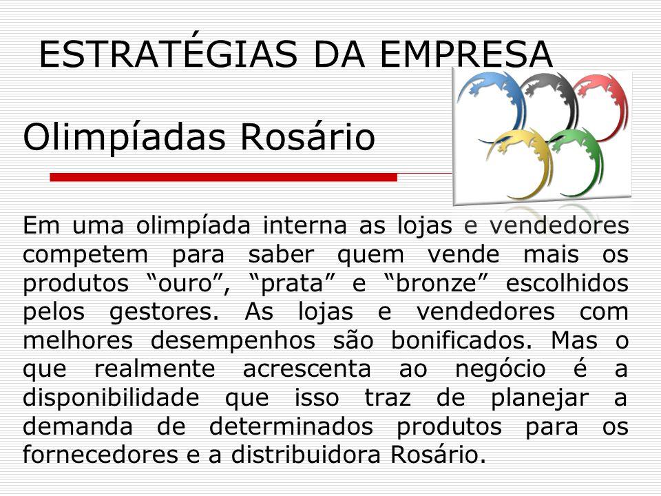 Olimpíadas Rosário Em uma olimpíada interna as lojas e vendedores competem para saber quem vende mais os produtos ouro, prata e bronze escolhidos pelos gestores.