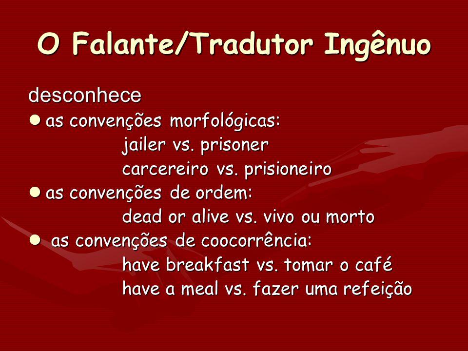 O Falante/Tradutor Ingênuo desconhece as convenções morfológicas: as convenções morfológicas: jailer vs. prisoner carcereiro vs. prisioneiro carcereir