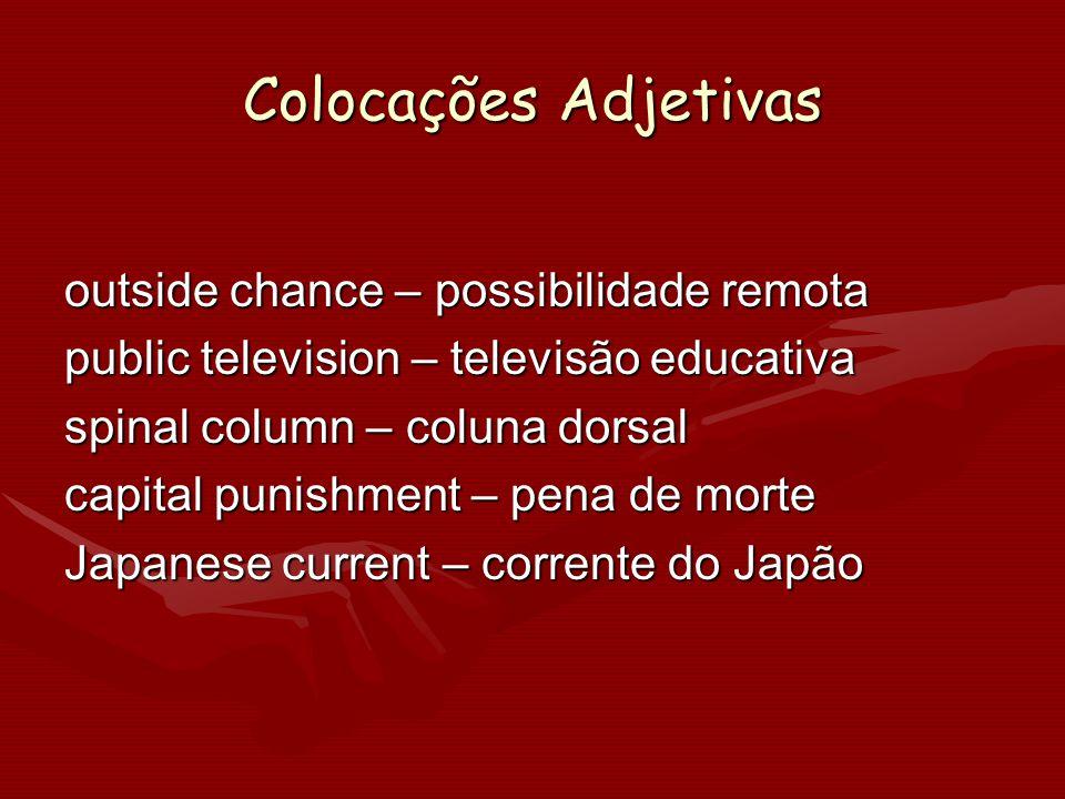 Colocações Adjetivas outside chance – possibilidade remota public television – televisão educativa spinal column – coluna dorsal capital punishment –