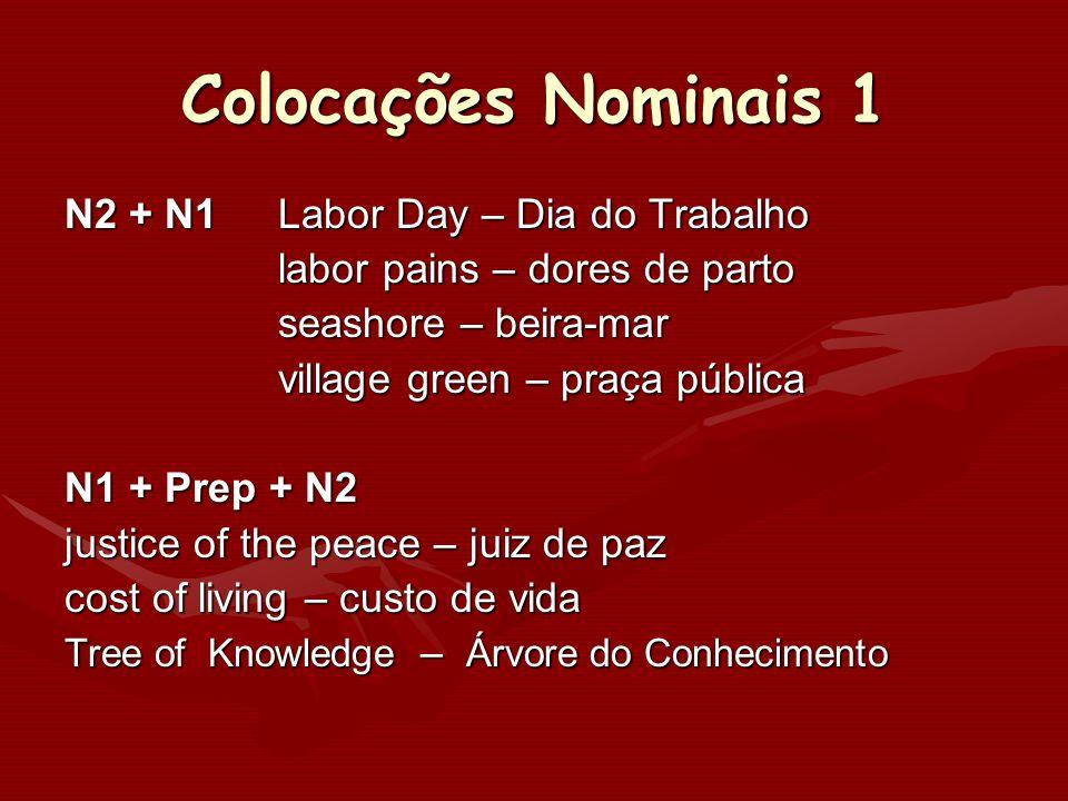 Colocações Nominais 1 N2 + N1Labor Day – Dia do Trabalho labor pains – dores de parto seashore – beira-mar village green – praça pública N1 + Prep + N