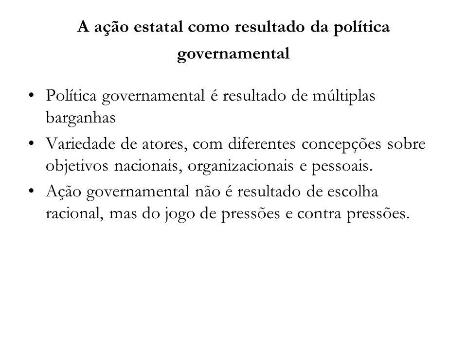 Política governamental é resultado de múltiplas barganhas Variedade de atores, com diferentes concepções sobre objetivos nacionais, organizacionais e