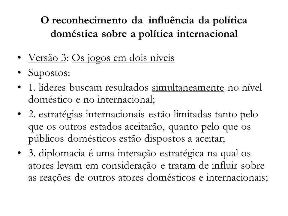 O reconhecimento da influência da política doméstica sobre a política internacional Versão 3: Os jogos em dois níveis Supostos: 1. líderes buscam resu