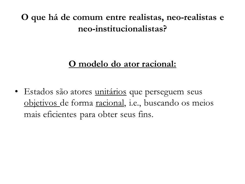 O que há de comum entre realistas, neo-realistas e neo-institucionalistas? O modelo do ator racional: Estados são atores unitários que perseguem seus