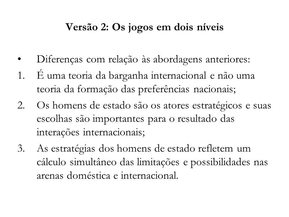Versão 2: Os jogos em dois níveis Diferenças com relação às abordagens anteriores: 1.É uma teoria da barganha internacional e não uma teoria da formaç