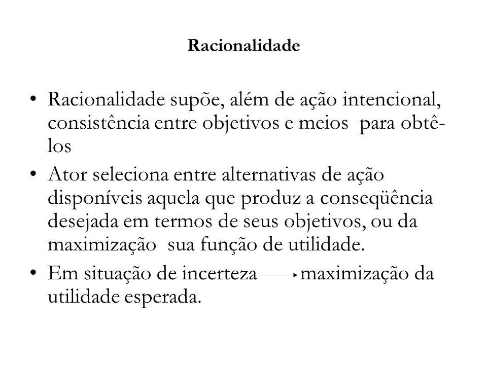 Racionalidade Racionalidade supõe, além de ação intencional, consistência entre objetivos e meios para obtê- los Ator seleciona entre alternativas de