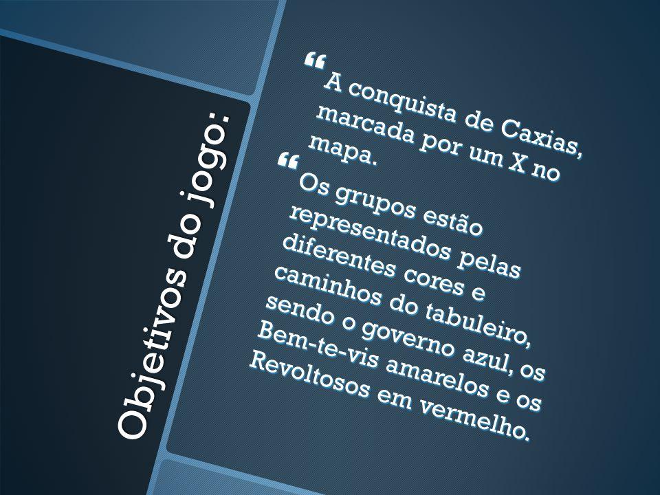 Objetivos do jogo: A conquista de Caxias, marcada por um X no mapa. A conquista de Caxias, marcada por um X no mapa. Os grupos estão representados pel