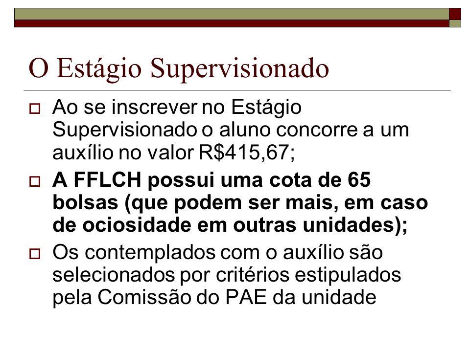 O Estágio Supervisionado Ao se inscrever no Estágio Supervisionado o aluno concorre a um auxílio no valor R$415,67; A FFLCH possui uma cota de 65 bols
