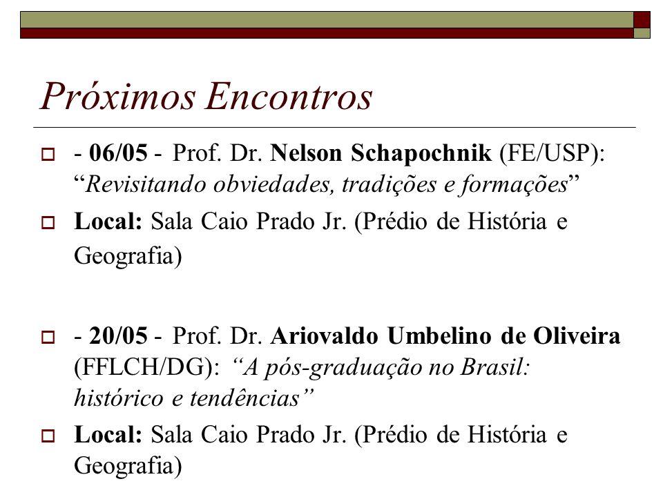 Próximos Encontros - 06/05 -Prof. Dr. Nelson Schapochnik (FE/USP):Revisitando obviedades, tradições e formações Local: Sala Caio Prado Jr. (Prédio de