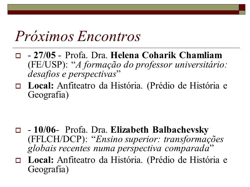 Próximos Encontros - 27/05 -Profa. Dra. Helena Coharik Chamliam (FE/USP): A formação do professor universitário: desafios e perspectivas Local: Anfite