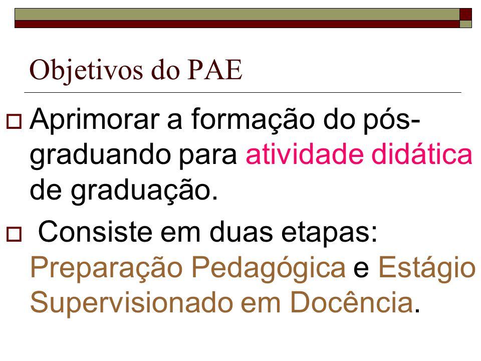 Objetivos do PAE Aprimorar a formação do pós- graduando para atividade didática de graduação. Consiste em duas etapas: Preparação Pedagógica e Estágio