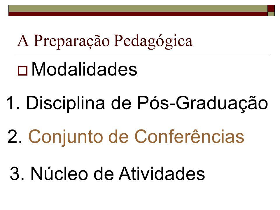 A Preparação Pedagógica Modalidades 1. Disciplina de Pós-Graduação 2. Conjunto de Conferências 3. Núcleo de Atividades