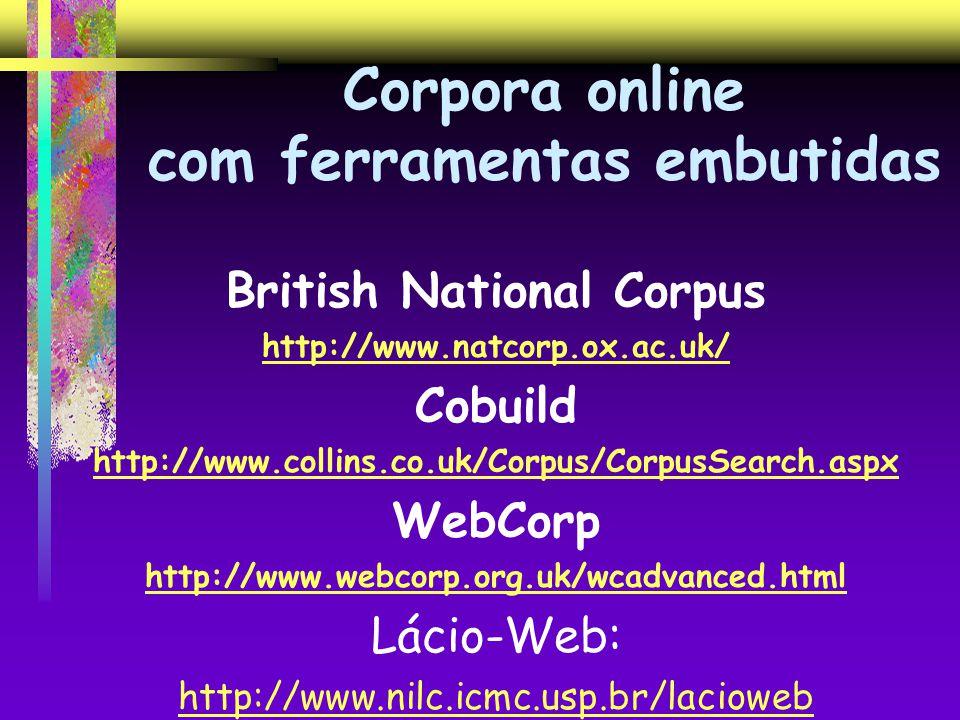 Corpora online com ferramentas embutidas British National Corpus http://www.natcorp.ox.ac.uk/ Cobuild http://www.collins.co.uk/Corpus/CorpusSearch.asp