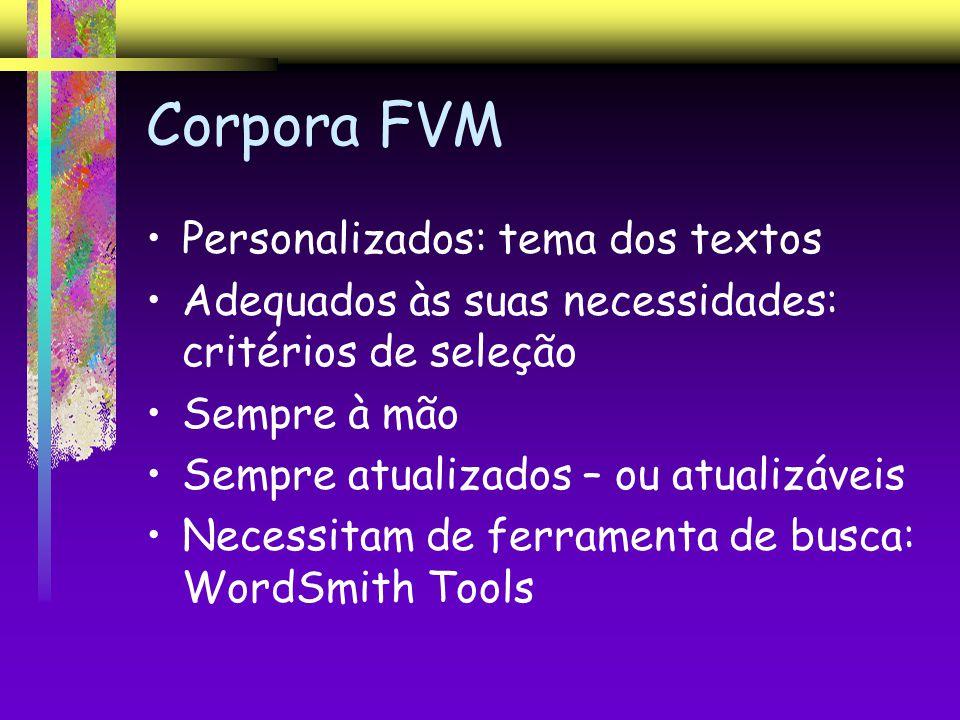 Corpora FVM Personalizados: tema dos textos Adequados às suas necessidades: critérios de seleção Sempre à mão Sempre atualizados – ou atualizáveis Nec