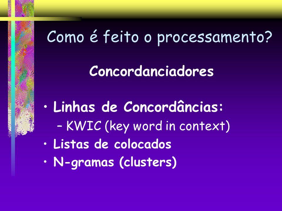 Como é feito o processamento? Concordanciadores Linhas de Concordâncias: –KWIC (key word in context) Listas de colocados N-gramas (clusters)