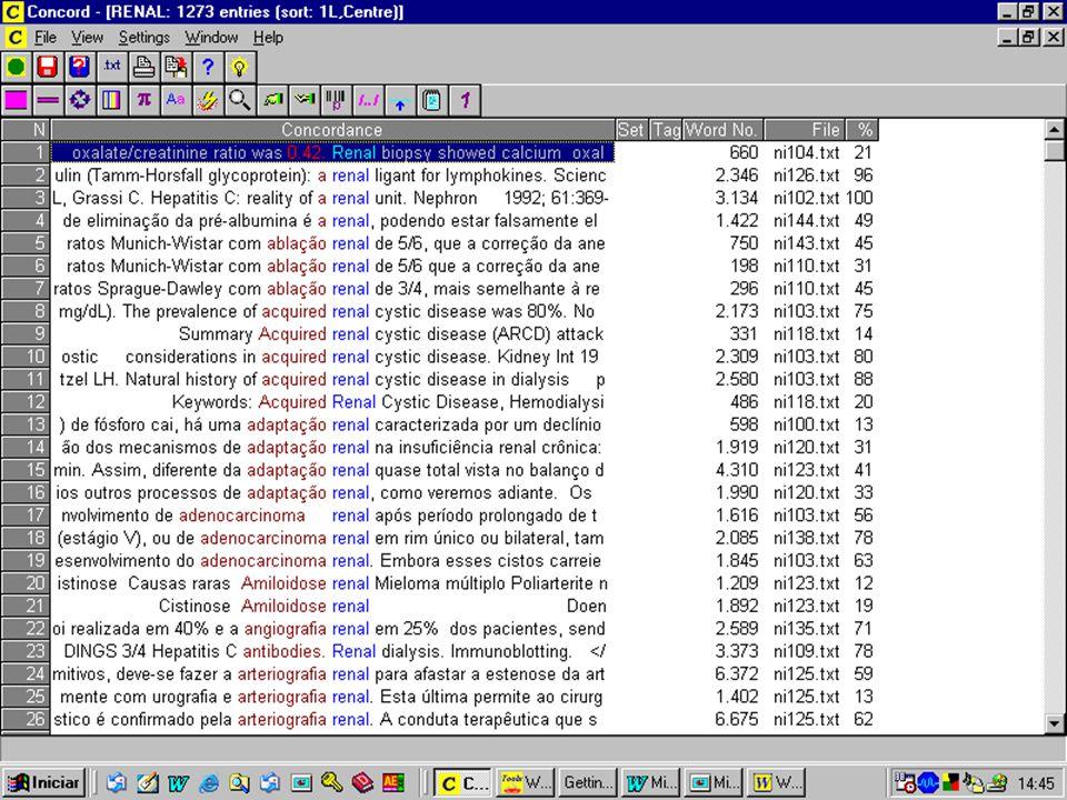 Compilação do Glossário Seleção dos Termos Clusters - unidades multipalavras