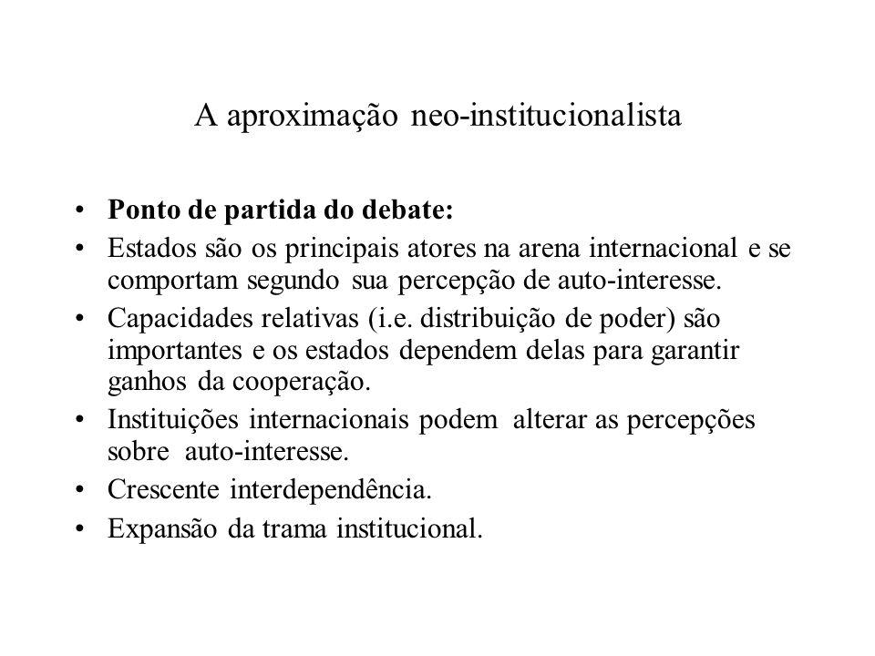 A aproximação neo-institucionalista Ponto de partida do debate: Estados são os principais atores na arena internacional e se comportam segundo sua percepção de auto-interesse.
