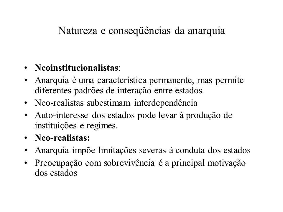Natureza e conseqüências da anarquia Neoinstitucionalistas: Anarquia é uma característica permanente, mas permite diferentes padrões de interação entr