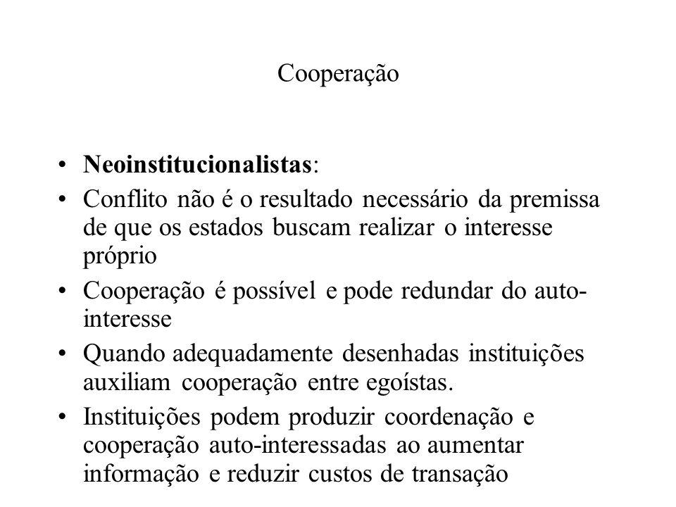Cooperação Neoinstitucionalistas: Conflito não é o resultado necessário da premissa de que os estados buscam realizar o interesse próprio Cooperação é