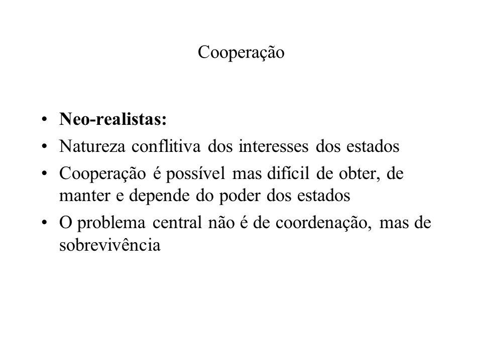 Cooperação Neo-realistas: Natureza conflitiva dos interesses dos estados Cooperação é possível mas difícil de obter, de manter e depende do poder dos estados O problema central não é de coordenação, mas de sobrevivência