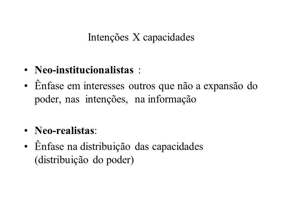 Intenções X capacidades Neo-institucionalistas : Ênfase em interesses outros que não a expansão do poder, nas intenções, na informação Neo-realistas: Ênfase na distribuição das capacidades (distribuição do poder)