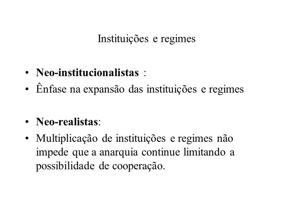 Instituições e regimes Neo-institucionalistas : Ênfase na expansão das instituições e regimes Neo-realistas: Multiplicação de instituições e regimes não impede que a anarquia continue limitando a possibilidade de cooperação.