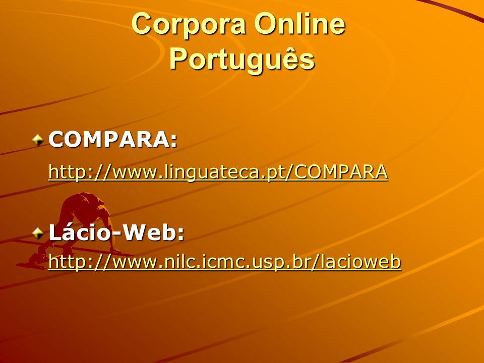 Corpora Online Inglês BNC: http://sara.natcorp.ox.ac.uk/lookup.html http://sara.natcorp.ox.ac.uk/lookup.html COBUILD: http://www.collins.co.uk/Corpus/
