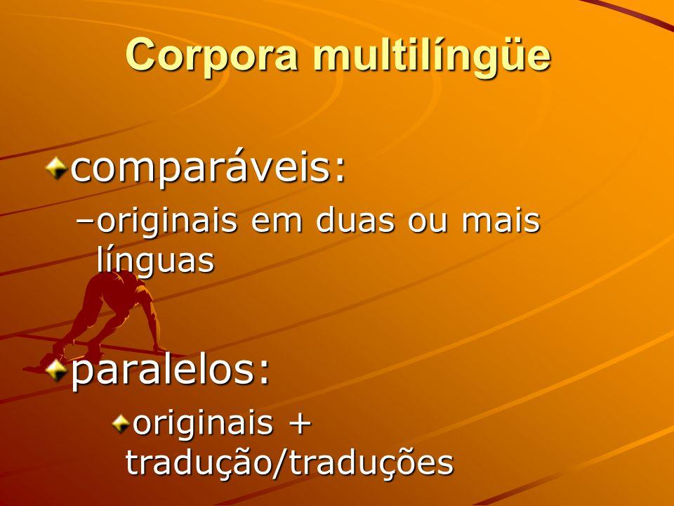 Corpora monolíngües língua geral: jornalísticos e literários língua geral: jornalísticos e literários língua de especialidade: técnicos língua de espe