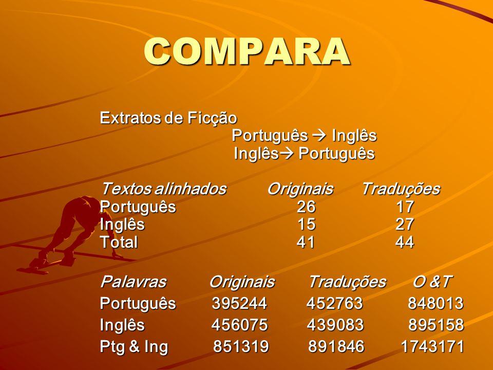 Corpora multilíngüe comparáveis: –o–o–o–originais em duas ou mais línguas paralelos: originais + tradução/traduções
