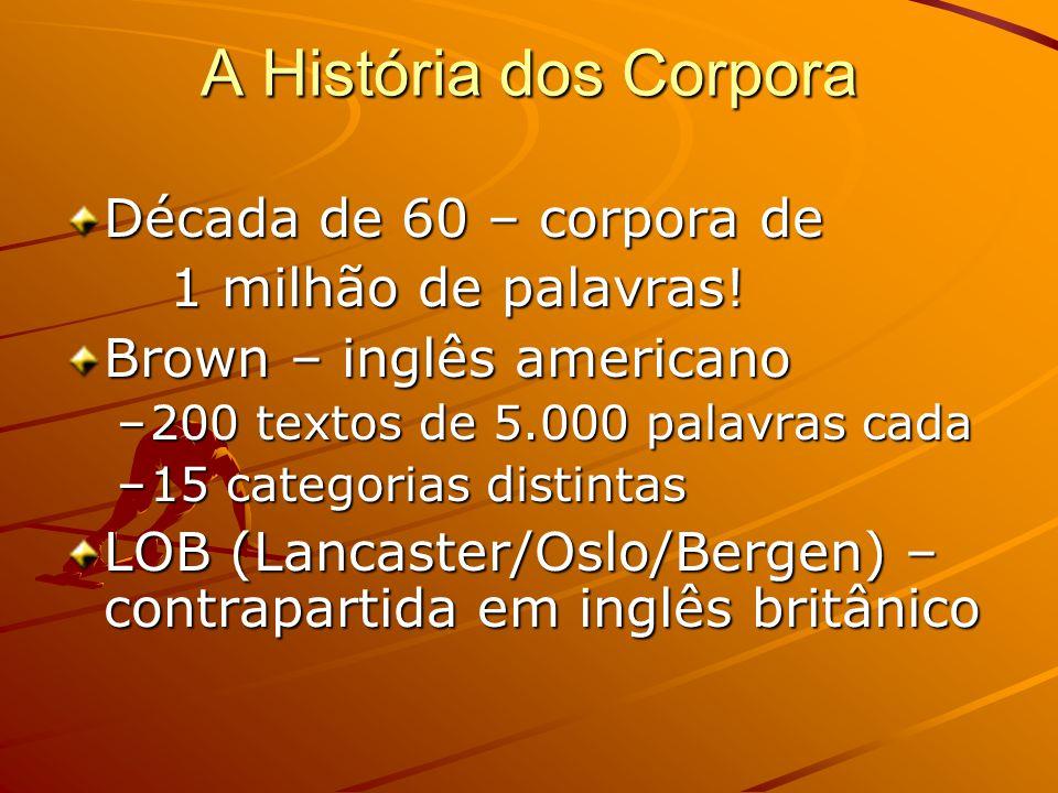 A História dos Corpora Década de 60 – corpora de 1 milhão de palavras.