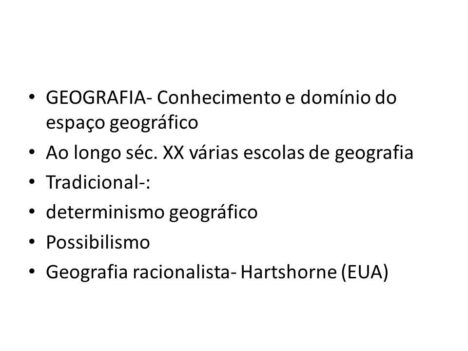 GEOGRAFIA- Conhecimento e domínio do espaço geográfico Ao longo séc. XX várias escolas de geografia Tradicional-: determinismo geográfico Possibilismo