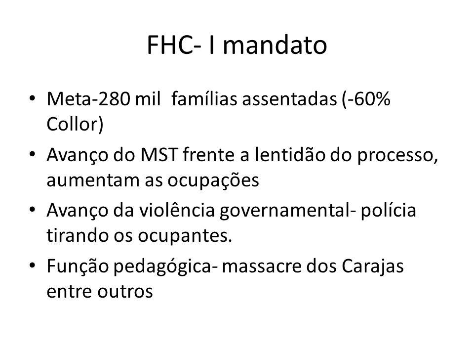 FHC- I mandato Meta-280 mil famílias assentadas (-60% Collor) Avanço do MST frente a lentidão do processo, aumentam as ocupações Avanço da violência governamental- polícia tirando os ocupantes.