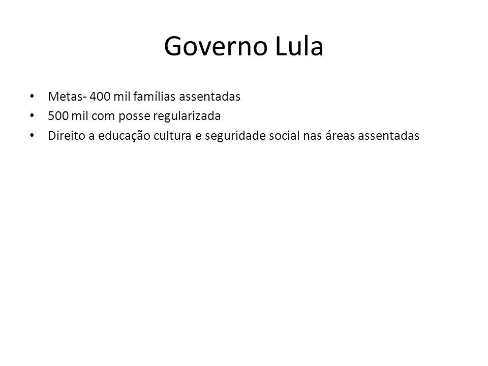 Governo Lula Metas- 400 mil famílias assentadas 500 mil com posse regularizada Direito a educação cultura e seguridade social nas áreas assentadas