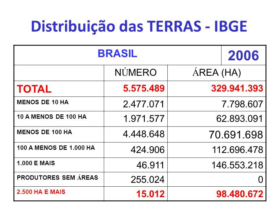 Distribuição das TERRAS - IBGE BRASIL 2006 N Ú MERO Á REA (HA) TOTAL 5.575.489329.941.393 MENOS DE 10 HA 2.477.0717.798.607 10 A MENOS DE 100 HA 1.971