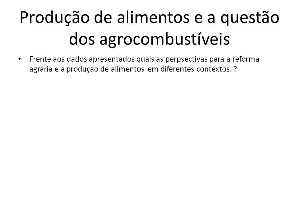 Frente aos dados apresentados quais as perpsectivas para a reforma agrária e a produçao de alimentos em diferentes contextos. ? Produção de alimentos