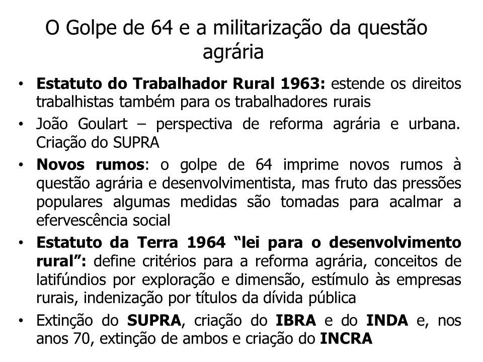 O Golpe de 64 e a militarização da questão agrária Estatuto do Trabalhador Rural 1963: estende os direitos trabalhistas também para os trabalhadores rurais João Goulart – perspectiva de reforma agrária e urbana.