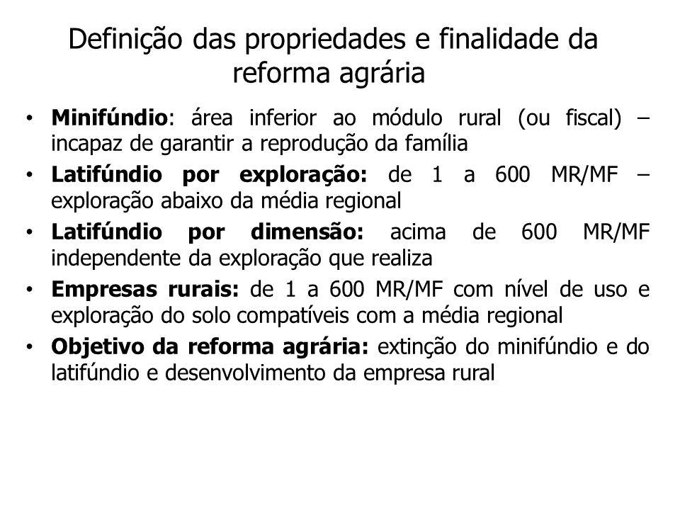 Definição das propriedades e finalidade da reforma agrária Minifúndio: área inferior ao módulo rural (ou fiscal) – incapaz de garantir a reprodução da família Latifúndio por exploração: de 1 a 600 MR/MF – exploração abaixo da média regional Latifúndio por dimensão: acima de 600 MR/MF independente da exploração que realiza Empresas rurais: de 1 a 600 MR/MF com nível de uso e exploração do solo compatíveis com a média regional Objetivo da reforma agrária: extinção do minifúndio e do latifúndio e desenvolvimento da empresa rural