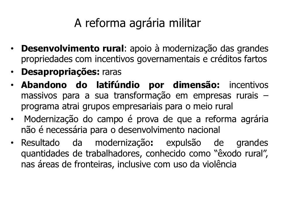 A reforma agrária militar Desenvolvimento rural: apoio à modernização das grandes propriedades com incentivos governamentais e créditos fartos Desapro