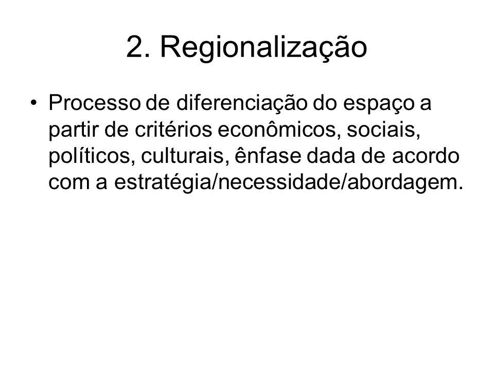 2. Regionalização Processo de diferenciação do espaço a partir de critérios econômicos, sociais, políticos, culturais, ênfase dada de acordo com a est