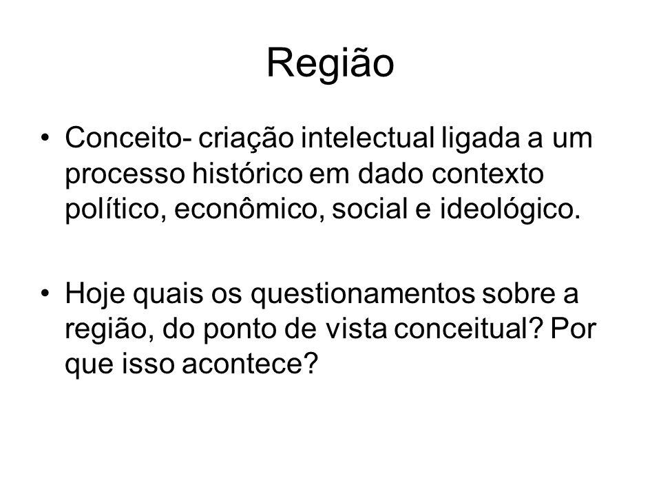 Região Conceito- criação intelectual ligada a um processo histórico em dado contexto político, econômico, social e ideológico. Hoje quais os questiona