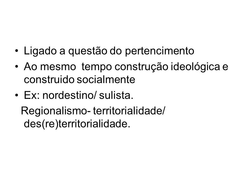 Ligado a questão do pertencimento Ao mesmo tempo construção ideológica e construido socialmente Ex: nordestino/ sulista. Regionalismo- territorialidad