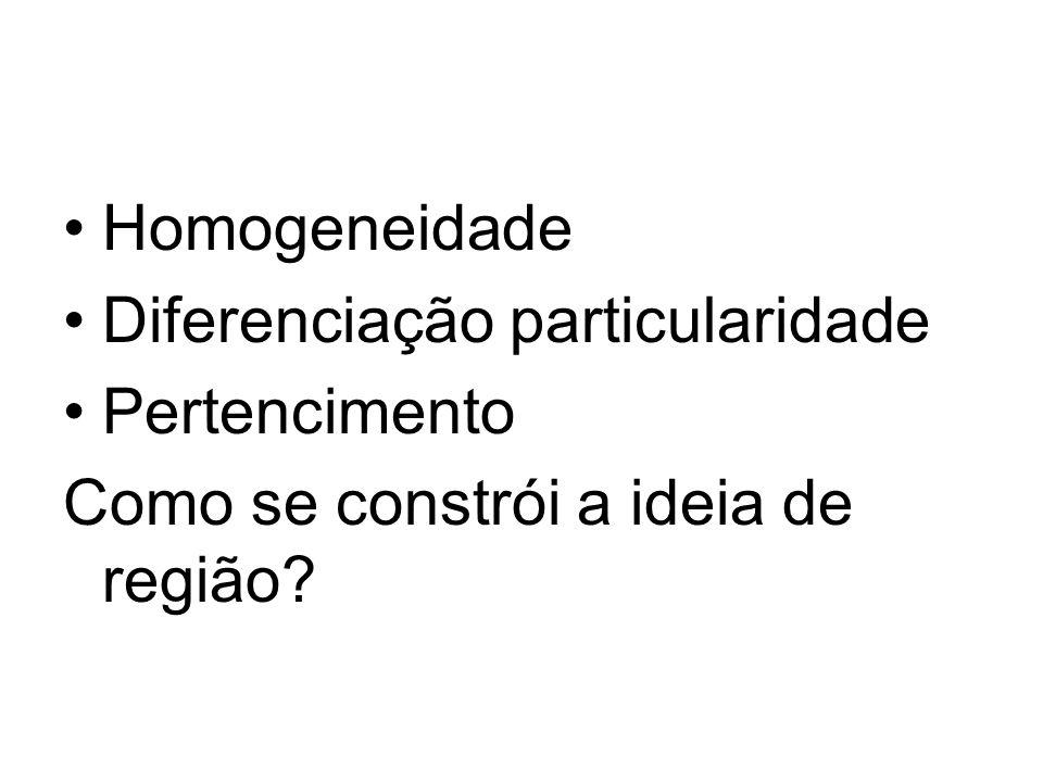 Homogeneidade Diferenciação particularidade Pertencimento Como se constrói a ideia de região?