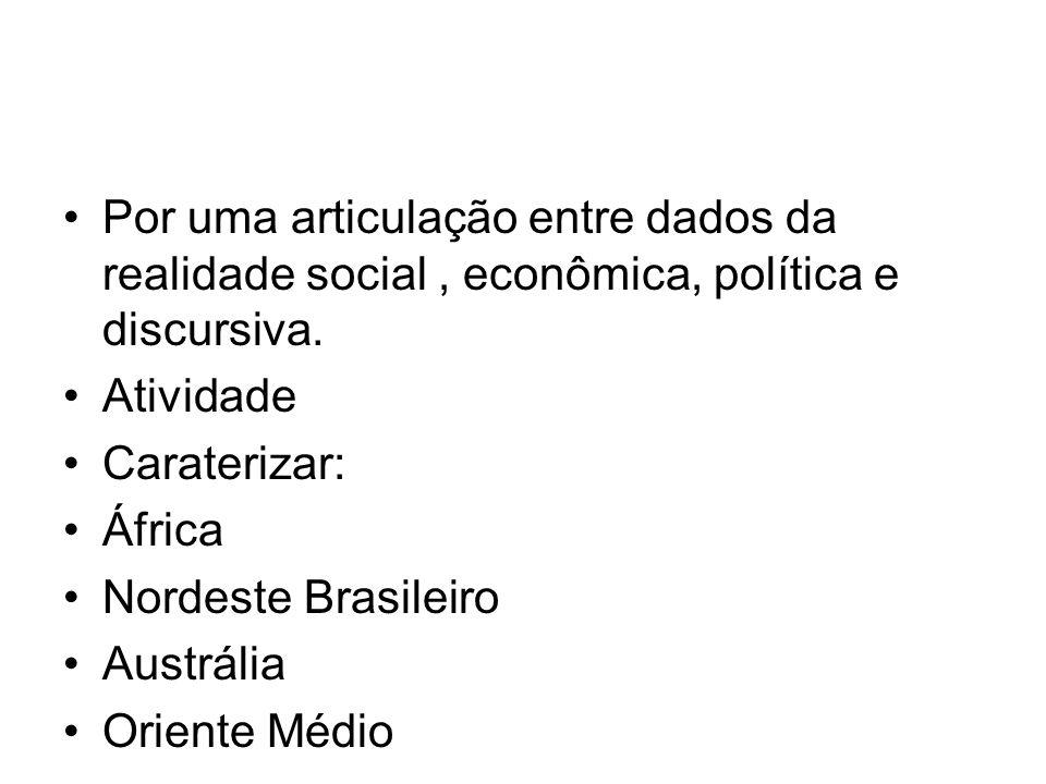 Por uma articulação entre dados da realidade social, econômica, política e discursiva. Atividade Caraterizar: África Nordeste Brasileiro Austrália Ori