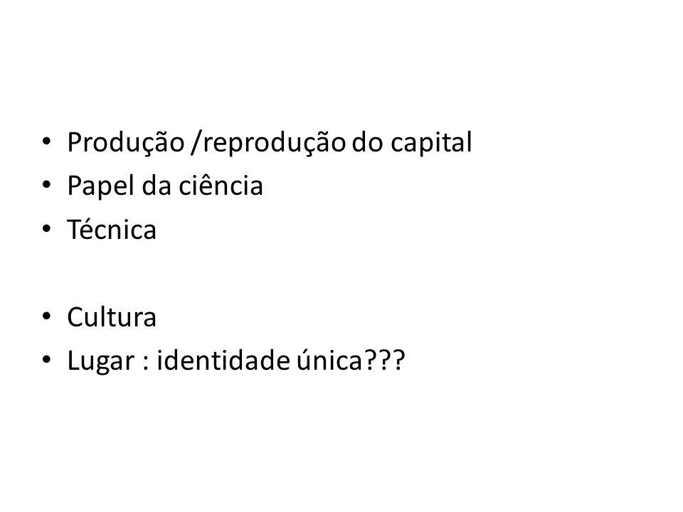 Produção /reprodução do capital Papel da ciência Técnica Cultura Lugar : identidade única???