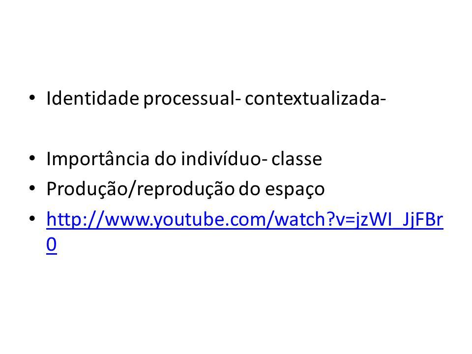 Identidade processual- contextualizada- Importância do indivíduo- classe Produção/reprodução do espaço http://www.youtube.com/watch?v=jzWI_JjFBr 0 http://www.youtube.com/watch?v=jzWI_JjFBr 0
