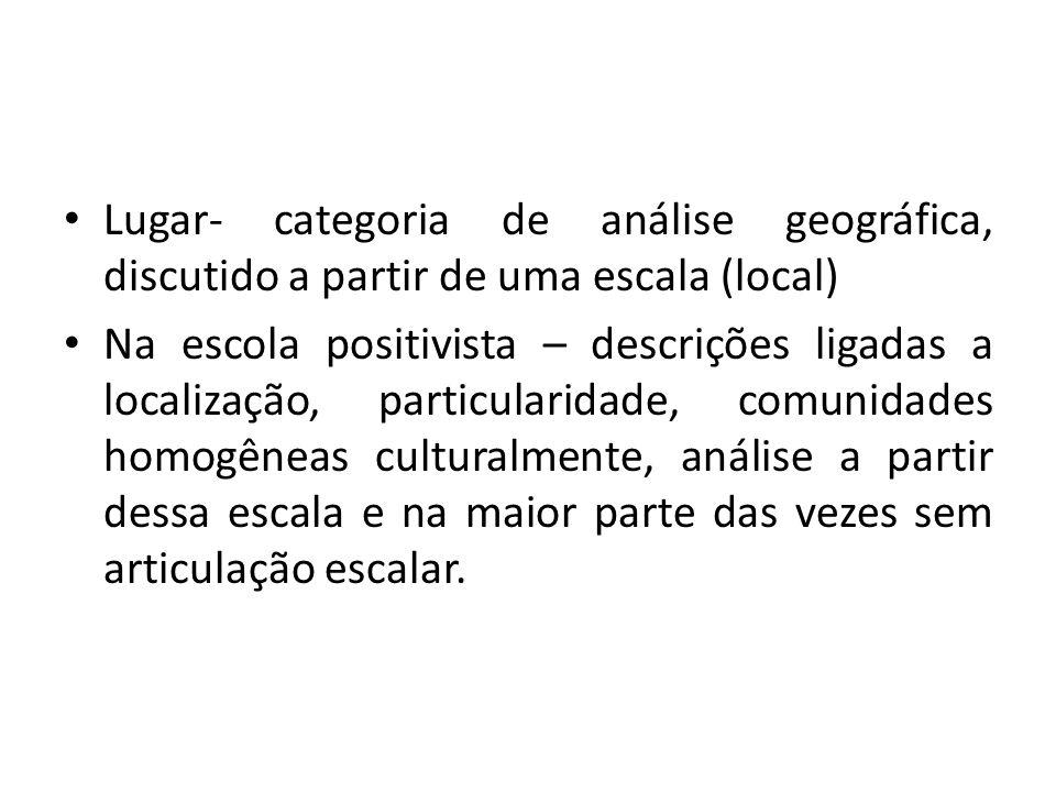 Lugar- categoria de análise geográfica, discutido a partir de uma escala (local) Na escola positivista – descrições ligadas a localização, particulari
