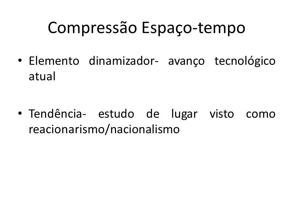 Compressão Espaço-tempo Elemento dinamizador- avanço tecnológico atual Tendência- estudo de lugar visto como reacionarismo/nacionalismo